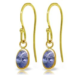 ALARRI 1 Carat 14K Solid Gold Fish Hook Earrings Tanzanite