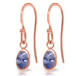 ALARRI 1 Carat 14K Solid Rose Gold Fish Hook Earrings Tanzanite