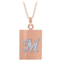 ALARRI 0.01 Carat 14K Solid Rose Gold Initial Necklace Diamond
