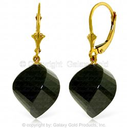 ALARRI 31 Carat 14K Solid Gold Leverback Earrings Twisted Briolette Black Spinel