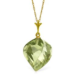 ALARRI 13 CTW 14K Solid Gold Necklace Twisted Briolette Green Amethyst