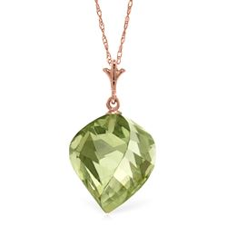 ALARRI 13 Carat 14K Solid Rose Gold Necklace Twisted Briolette Green Amethyst