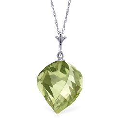 ALARRI 13 CTW 14K Solid White Gold Necklace Twisted Briolette Green Amethyst