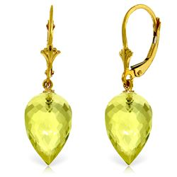 ALARRI 18 Carat 14K Solid Gold Pointy Briolette Drop Lemon Quartz Earrings