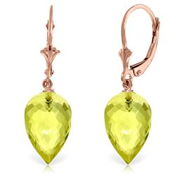 ALARRI 18 Carat 14K Solid Rose Gold Pointy Briolette Drop Lemon Quartz Earrings