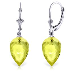ALARRI 18 CTW 14K Solid White Gold Pointy Briolette Drop Lemon Quartz Earrings