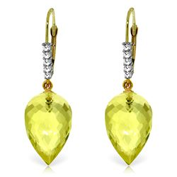 ALARRI 18.15 Carat 14K Solid Gold Drop Briolette Lemon Quartz Diamond Earrings