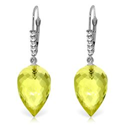 ALARRI 18.15 CTW 14K Solid White Gold Drop Briolette Lemon Quartz Diamond Earrings