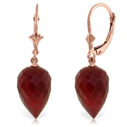 ALARRI 26.1 Carat 14K Solid Rose Gold Drop Briolette Ruby Earrings