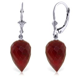 ALARRI 26.1 Carat 14K Solid White Gold Drop Briolette Ruby Earrings