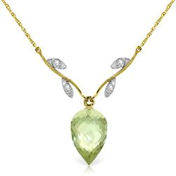 ALARRI 9.52 Carat 14K Solid Gold Necklace Diamond Briolette Green Amethyst