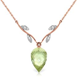 ALARRI 9.52 CTW 14K Solid Rose Gold Necklace Diamond Briolette Green Amethyst