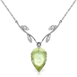ALARRI 9.52 Carat 14K Solid White Gold Necklace Diamond Briolette Green Amethyst