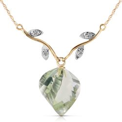ALARRI 13.02 CTW 14K Solid Gold La Belle Vie Green Amethyst Necklace