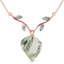ALARRI 13.02 Carat 14K Solid Rose Gold Romance Green Amethyst Diamond Necklace