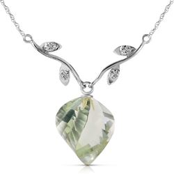 ALARRI 13.02 CTW 14K Solid White Gold Scattered Fragments Green Amethyst Necklace
