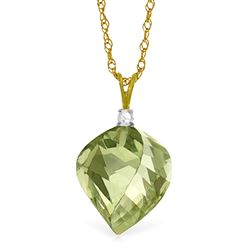 ALARRI 13.05 CTW 14K Solid Gold Intended For Pleasure Green Amethyst Necklace