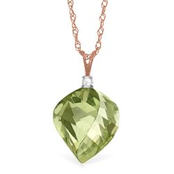 ALARRI 13.05 CTW 14K Solid Rose Gold Spiral Green Amethyst Diamond Necklace