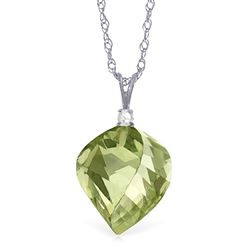 ALARRI 13.05 Carat 14K Solid White Gold Boundless Drop Green Amethyst Necklace