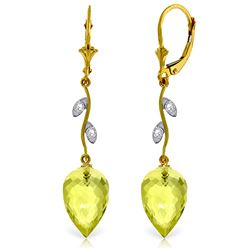 ALARRI 18.02 CTW 14K Solid Gold Diamond Drop Lemon Quartz Earrings