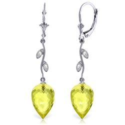ALARRI 18.02 Carat 14K Solid White Gold Diamond Drop Lemon Quartz Earrings
