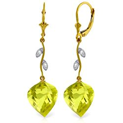 ALARRI 21.52 Carat 14K Solid Gold Diamond Spiral Lemon Quartz Earrings