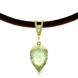ALARRI 9.51 CTW 14K Solid Gold Savoire Faire Green Amethyst Necklace