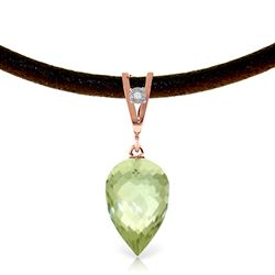 ALARRI 9.51 CTW 14K Solid Rose Gold Savoire Faire Green Amethyst Necklace