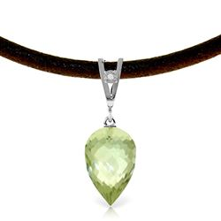ALARRI 9.51 CTW 14K Solid White Gold Savoire Faire Green Amethyst Necklace