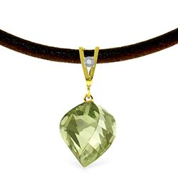 ALARRI 13.01 Carat 14K Solid Gold Savoire Vivre Green Amethyst Necklace