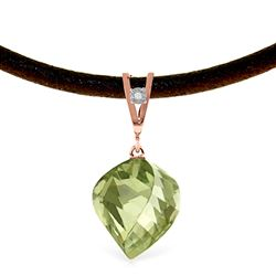 ALARRI 13.01 Carat 14K Solid Rose Gold Savoire Vivre Green Amethyst Necklace