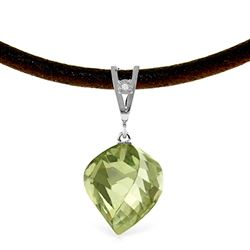 ALARRI 13.01 Carat 14K Solid White Gold Savoire Vivre Green Amethyst Necklace