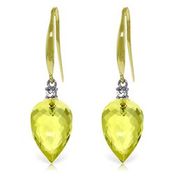 ALARRI 18.1 Carat 14K Solid Gold Fish Hook Earrings Diamond Lemon Quartz