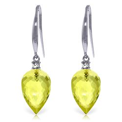 ALARRI 18.1 Carat 14K Solid White Gold Fish Hook Earrings Diamond Lemon Quartz
