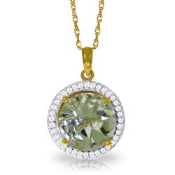 ALARRI 5.2 CTW 14K Solid Gold Diamond Green Amethyst Necklace