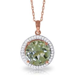 ALARRI 5.2 Carat 14K Solid Rose Gold Diamond Green Amethyst Necklace