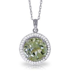 ALARRI 5.2 CTW 14K Solid White Gold Diamond Green Amethyst Necklace