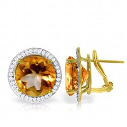 ALARRI 12.4 CTW 14K Solid Gold French Clips Earrings Diamond Citrine