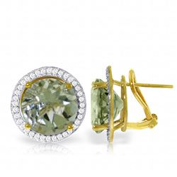 ALARRI 10.4 CTW 14K Solid Gold French Clips Earrings Diamond Green Amethyst
