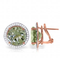 ALARRI 10.4 Carat 14K Solid Rose Gold French Clips Earrings Diamond Green Amethyst