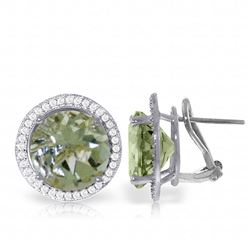 ALARRI 10.4 CTW 14K Solid White Gold French Clips Earrings Diamond Green Amethyst