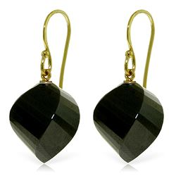 ALARRI 14K. Yellow Gold FISH HOOK EARRINGS WITH NATURAL BLACK SPINEL