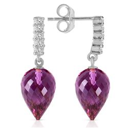 ALARRI 19.15 CTW 14K Solid White Gold Wondrous Delight Amethyst Diamond Earrings