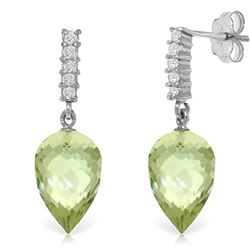 ALARRI 19.15 Carat 14K Solid White Gold Life In My Heart Green Amethyst Earrings