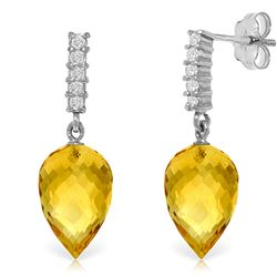 ALARRI 19.15 CTW 14K Solid White Gold Following Derectives Citrine Diamond Earrings
