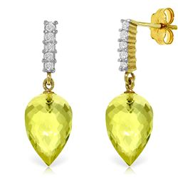 ALARRI 18.15 Carat 14K Solid Gold Earrings Diamond Lemon Quartz