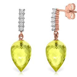 ALARRI 18.15 CTW 14K Solid Rose Gold Earrings Diamond Lemon Quartz
