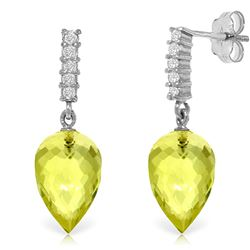 ALARRI 18.15 CTW 14K Solid White Gold Earrings Diamond Lemon Quartz