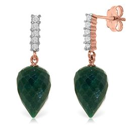 ALARRI 25.95 Carat 14K Solid Rose Gold Earrings Diamond Briolette Emerald