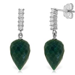 ALARRI 25.95 Carat 14K Solid White Gold Earrings Diamond Briolette Emerald